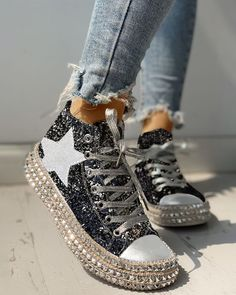 Shop Sequins Rivet Embellished Lace-Up Sneakers right now, get great deals at joyshoetique Yeezy Sneakers, Casual Sneakers, Casual Shoes, Shoes Sneakers, Pretty Shoes, Cute Shoes, Cute Womens Shoes, Baskets, Zapatillas Casual