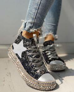 Shop Sequins Rivet Embellished Lace-Up Sneakers right now, get great deals at joyshoetique Yeezy Sneakers, Casual Sneakers, Sneakers Fashion, Casual Shoes, Fashion Shoes, Shoes Sneakers, Fashion Outfits, Pretty Shoes, Cute Shoes