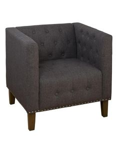 Zoe Transitional Charcoal Wood Polyester Nailhead Trim Accent Chair