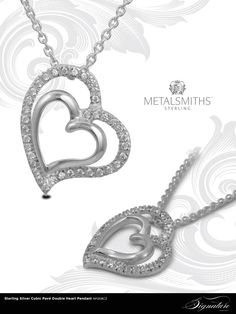 Metalsmith's Sterling Silver Pave Double Heart Pendant.
