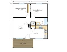 Frontier Zip Kit Home 2br 1ba 576 sq. ft. Great use of space.