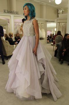 Season 14 Featured Dress: Hayley Paige. Lavender skirt. Beaded top. Applique lace. $4,600. Style: Dori.