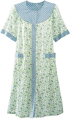 Shop National for comfy women's loungewear like our Twin Print House Coat with a full snap-front, Trapunto yoke, patch pockets, and reverse print trim. Coat Pattern Sewing, Dress Sewing Patterns, Night Suit, Night Gown, Cotton Nighties, Breastfeeding Fashion, Nightgown Pattern, Housecoat, Night Dress For Women