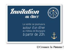 Invitation au dîner - Collection Faire-part Mariage Cap Ferret de Croquez la pomme ! Bord de mer - lin doré et marine  Wedding invitation ©croquezlapomme
