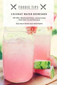Watermelon Breeze Fresh, light and low cal summer drinks that are an easy breezy treat! All you need is a blender. 3 cups cubed chilled watermelon 1 cup coconut water squeeze of fresh lime Ice if needed Sprig of mint Refreshing Drinks, Fun Drinks, Yummy Drinks, Healthy Drinks, Yummy Food, Cold Drinks, Healthy Food, Food And Drinks, Summer Drinks Kids