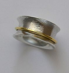 Sterling Spinning Ring 18K Gold Captured Band Handmade by joykruse