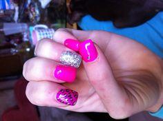 Hot pink glitter cheetah nails