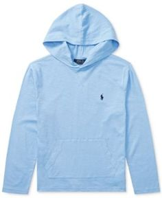 Ralph Lauren Cotton Hoodie, Big Boys (8-20) - Light Blue XL