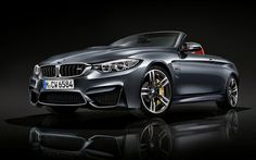 The BMW Convertible in Mineral Grey Metallic and M light-alloy, double spoke wheels. Bmw M4 Cabrio, M4 Cabriolet, Bmw M2, Advertising Pictures, Bavarian Motor Works, Dual Clutch Transmission, Lamborghini Diablo, Aircraft Engine, Pagani Zonda