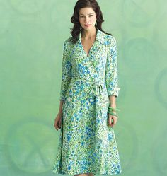 If you're searching for a sewing pattern that's close to the 1970s DVF wrap dress pattern, this Butterick pattern is close. B5030.
