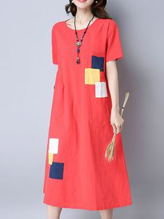 Brand: No Specification: Sleeve Length:Short Sleeve Neckline:O-neck Color:White,Orange Red Style:Vintage Dress Length:Mid-Calf Pattern:Patchwork Material:Cotton Season:Summer Package included: Vintage Style Dresses, Style Vintage, Vintage Fashion, Vintage Outfits, Linen Dresses, Casual Dresses, Fashion Dresses, Dresses Dresses, Cheap Dresses