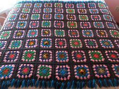 Vintage Hand Crochet Granny Square Fringed Afghan Blanket by CindysCozyClutter on Etsy