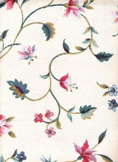 Off White Fabric Pink Red Green Floral Fabric  Waverly A Stitch in Time Cotton Fabric 52 x 1 1/3 Yards, Vintage Supplies YacketUSA via Etsy