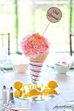 Bridges Golf Club - San Ramon wedding, ice cream cone centerpieces with pink car. - Irene Cheng - Beyond Binary Ice Cream Theme, Ice Cream Party, Ice Cream Scoop, San Ramon, Pink Carnations, Party Centerpieces, Pink Lemonade, Our Wedding, Wedding Ideas