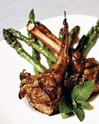 Herb-and-Spice Lamb Chops with Minted Asparagus (50 min. plus overnight marinating) - Food & Wine