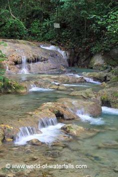 The series of cascades comprising part of Mayfield Falls Jamaica