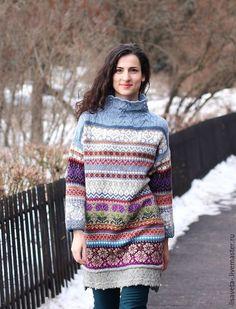 """Платья ручной работы. Ярмарка Мастеров - ручная работа. Купить Жаккардовое платье-свитер """"Февраль"""". Handmade. Орнамент, свитер женский"""
