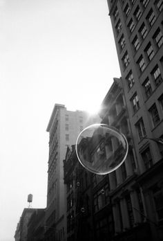 iO Tillett Wright - i love how the delicate bubble is so prominent despite the opposing buildings behind Street Photographers, Contemporary Artists, Photo Art, All About Time, Black And White, Pictures, Photos, Photography, Bubble
