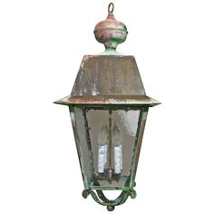 Vintage Hanging Copper Lantern | From a unique collection of antique and modern lanterns at https://www.1stdibs.com/furniture/lighting/lanterns/