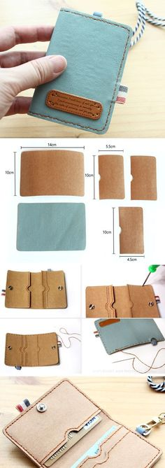 Sewing For Beginners Projects Simple DIY Faux leather wallet gift card holder, perfect gift. ~ Sewing projects for beginners. Step by step sew tutorial. How to sew illustration. Sewing Projects For Beginners, Sewing Tutorials, Sewing Ideas, Sewing Hacks, Sewing Diy, Tutorial Sewing, Bag Tutorials, Sewing Crafts, Diy Bags No Sew