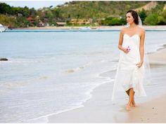 Strapless Beach Chiffon Slim Line Wedding Dress