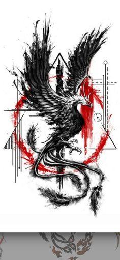 Tattoo Dragon And Phoenix, Phoenix Tattoo For Men, Phoenix Bird Tattoos, Dragon Tattoos For Men, Tattoos For Guys, Crow Tattoo Design, Phoenix Tattoo Design, Tattoo Designs Men, Cool Forearm Tattoos