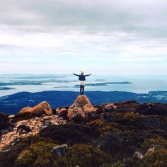A slightly different view from the summit of Mt Wellington this time looking south towards Kingston and down the channel.  Image sent in by oliviabeamish on IG: https://instagram.com/p/9PmTK0P4cz/