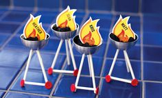 Fun place cards for a backyard BBQ, camping birthday party theme, and more!