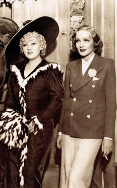 Mae West & Marlene Dietrich were good friends on the Paramount lot, Mae even joked that Marlene offered to wash her hair. They had great respect for each other, being Paramount's biggest stars. Mae wasn't the party girl, Marlene was. Each was a true individual & ahead of her time & not at all rivals. Being more 'mature' actresses both had secrets. Mae liked black prize-fighters & body builders, & Marlene swung both ways & had an 'open' marriage. (please follow minkshmink on pinterest)…