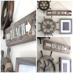 DIY Wood Beach Sign - http://upcycledtreasures.com/2013/06/diy-wood-beach-sign/ #beachsign #reclaimedwood