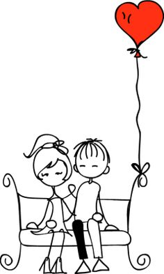 Illustration of Valentine doodle boy and girl vector art, clipart and stock vectors. Valentine Doodle, Valentines Day, Couple Drawings, Love Illustration, Stick Figures, Digi Stamps, Doodle Art, Embroidery Patterns, Coloring Pages