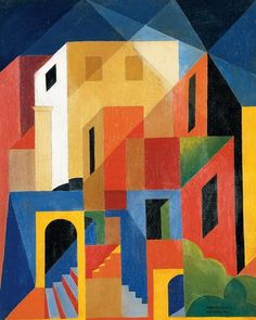 "Enrico Prampolini - Architettura Cromatica Di Capri x 33 cm) "" Enrico Prampolini April Modena – 17 June Rome) was an Italian Futurist painter, sculptor and scenographer. He assisted in the design of the. Cubist Paintings, Cubism Art, Abstract Tree Painting, Abstract Art, Futurism Art, Geometric Art, Painting Inspiration, Collage Art, Art Drawings"