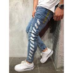 Look your best wearing this white side strips jeans! Mens Jogger Pants, Denim Joggers, Fashion Pants, Sneakers Fashion, Mens Fashion, Whatsapp Info, Streetwear Jeans, Estilo Denim, Ripped Jeans Men