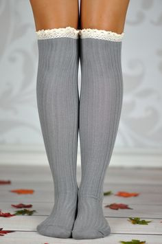 Gray Cable Knit Boot Socks