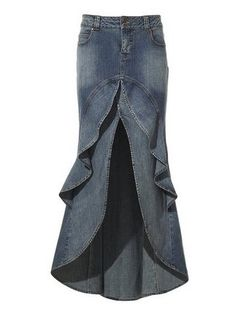 Jean Skirt - Jean #Upcycle - I don't really wear jeans so it would be out of black twill pants...Note: There is no tutorial to do this skirt just an idea. How I would approach it was to use 2 or 3 different twill pants I have and use it to make something similar.
