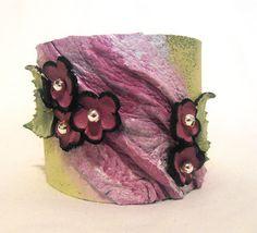 Leather purple bracelet. Leather floral cuff bracelet with beads. SALE