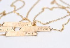 Personalized Name Bar Necklace in Rose Gold, Sterling Silver, or Yellow Gold. by Puryst on etsy Or Rose, Rose Gold, Name Necklace, Personalized Jewelry, Jewelry Making, Bling, Sterling Silver, Etsy, Necklaces