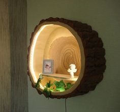 Tree trunk lamp wood lamp