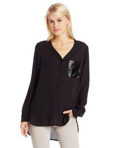 Calvin Klein Jeans Women's Faux Leather Long Sleeve Woven, Black, Medium Calvin Klein Jeans,http://www.amazon.com/dp/B00DYE59CI/ref=cm_sw_r_pi_dp_SrMUsb0W6T3NC0V6