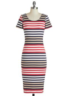 Celsius to the Dress. Heat up your luncheon look by slipping into this striped midi dress! #multi #modcloth