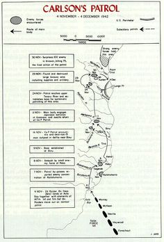 """Map of the """"Long Patrol"""" by Carlson's U. Guadalcanal Campaign, Marine Raiders, Usmc, Marines, United States Army, Marine Corps, World War Two, November, August 2014"""