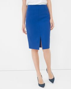 I like the color and cut of this skirt with the slit. Do not like to wear white, so not sure what I would wear on top. Midi Split-Front Pencil Skirt