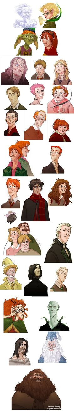 I didn't imagine Profesor McGonagall ,Sirius Black,Voldemort,and some other people like that but the fan art is amazing                                                                                                                                                                                 More