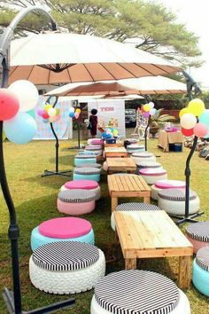 Cute outside seating with tyres