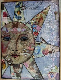 Collage: Made from pages from a world atlas, with textured stenciling, rub-ons,& embellishments / My Art Journal