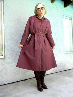 Vintage 80s Trench Coat in Mauve Purple Canvas w/ Gray/Green/Cream/Rose Plaid Lining - Size 11/12/14 - Lady Detective Agency. $28.00, via Etsy.