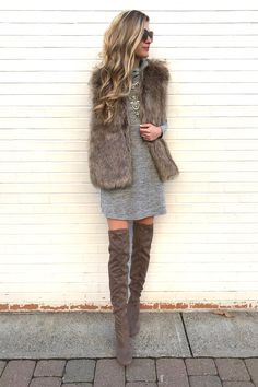 Winter outfits 2017 - gray sweater dress with fur vest and over the knee bo Winter Outfits 2017, Cozy Winter Outfits, Fall Outfits, Fashion Outfits, Outfit Winter, Fashion Boots, Formal Winter Outfits, Fashion Fashion, Vintage Fashion