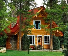 Log cabin in the woods. Beautiful home.