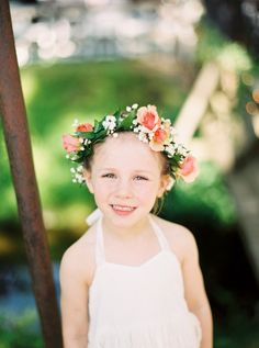 Sweet flower girl crown: http://www.stylemepretty.com/new-jersey-weddings/hope/2016/07/11/romantic-floral-summer-nj-wedding/ | Photography: Veronica Lola Photography - http://veronicalolaphoto.com/