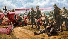 Australian troops commence souveniring items from The Barons aircraft after they had shot him down with ground based machine gun fire April 1918 .Russell Smith Aviation Art - Feeding the Legend Ww2 Aircraft, Fighter Aircraft, Military Aircraft, Military Art, Military History, Military Diorama, World War One, First World, Manfred Von Richthofen